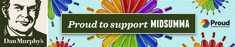 "Dan Murphy's banner: ""Pround to support MIDSUMMA"""