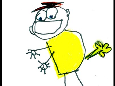 A childlike drawing of a child in a yellow top