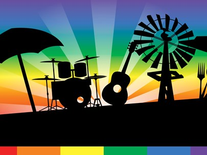 Instruments plus windmill & umbrella silhouetted on a stage, with