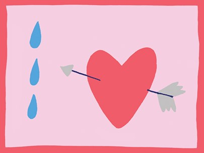 An artwork with a pink background, blue tears and red heart with an arrow going through it. The text within the image reads