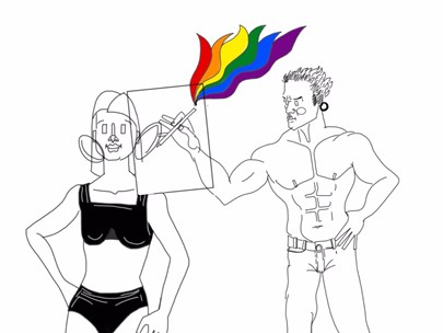 An illustration of a bare-chested male figure in jeans who is drawing a female figure, with rainbow colours shooting out of his pencil.